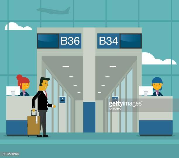 60 Top Airport Departure Area Stock Illustrations, Clip art.