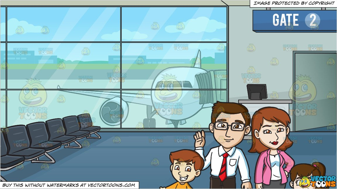 A Cute Family Of Four and Airport Boarding Gate Background.
