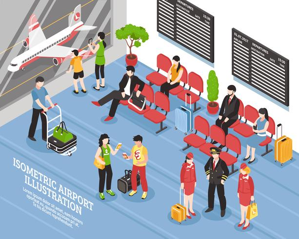 Airport Departure Lounge Isometric Poster.