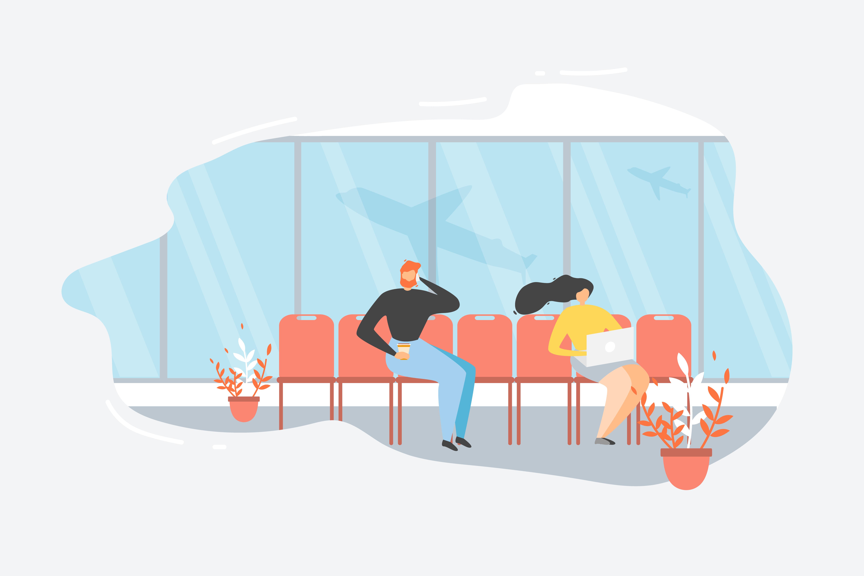 Passenger Waiting Flight in Airport.