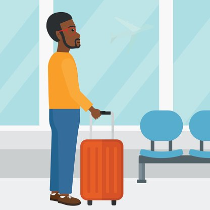 Man at airport with suitcase Clipart Image.