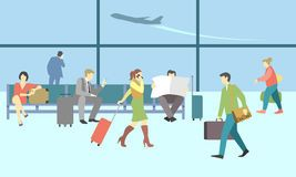 Business people in airport terminal. Vector travel Stock.