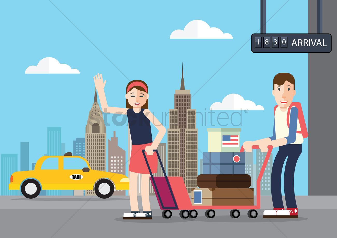 People standing in international airport Vector Image.