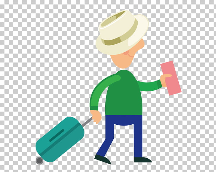 Travel Tourism Cartoon Suitcase, Hat luggage to the airport.