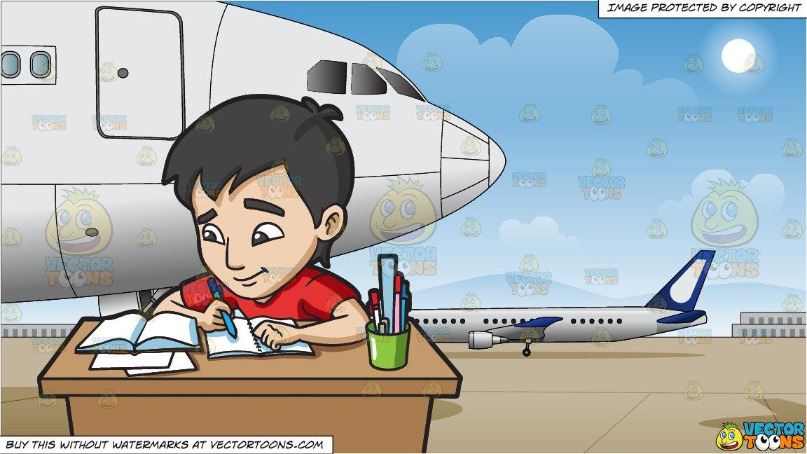 clipart #cartoon A Young Man Studying Happily For His Exam.