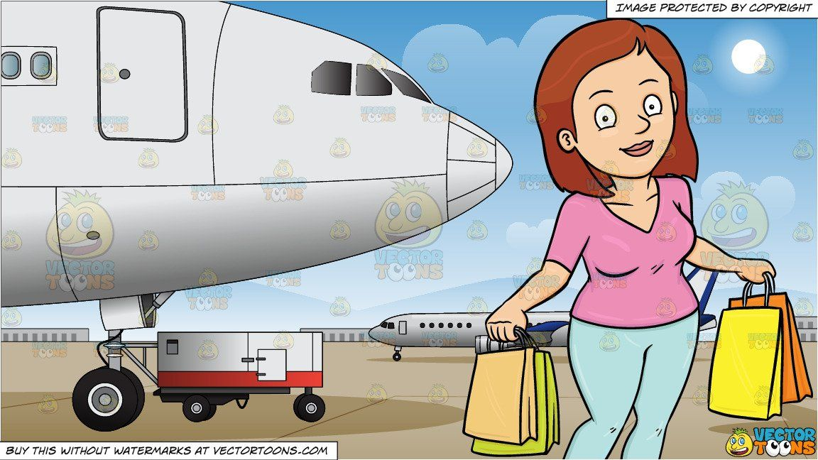 A Woman Satisfied After Shopping In A Mall and Airport.