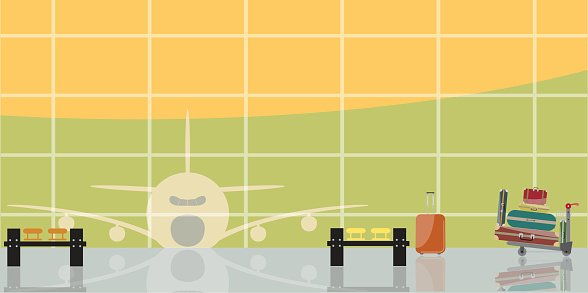 Vector illustration of inside the airport scene Clipart.