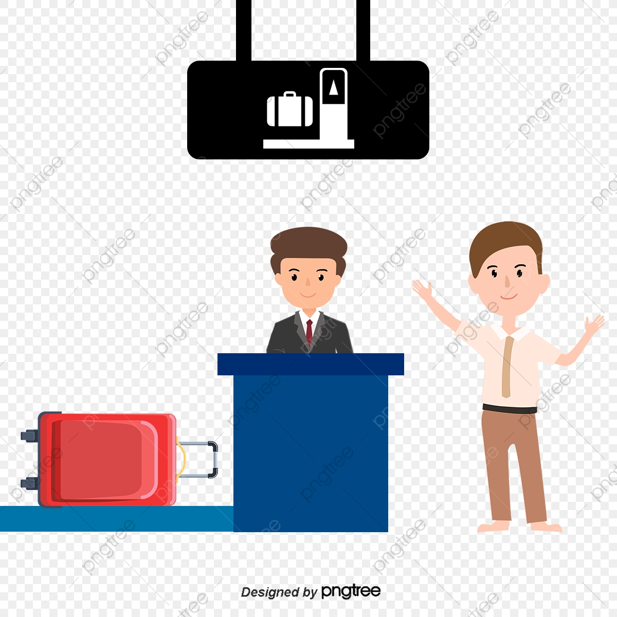 Airport Security Character Items Vector Material, Airport Clipart.