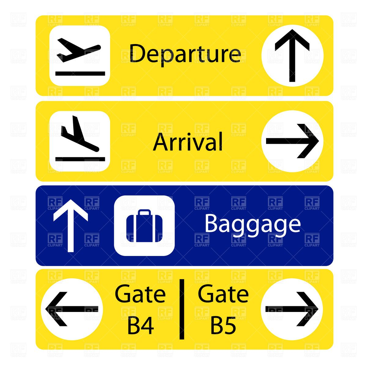 A selection of airport signs Stock Vector Image.