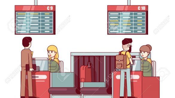 Check In Desk Woman Working At Airport Counter Royalty Free.
