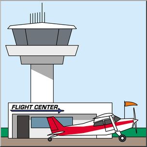 Clip Art: Buildings: Airport Terminal and Control Tower.