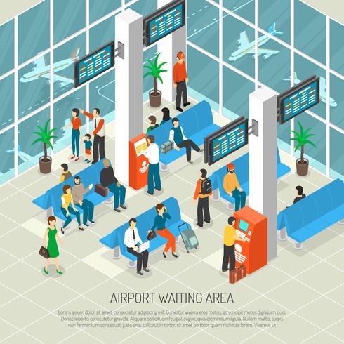 Airport Waiting Area Isometric Illustration.