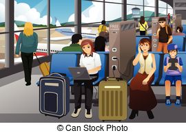 Airport Waiting Room Clipart.