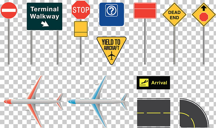 Airplane Airport Traffic sign Illustration, Airport.
