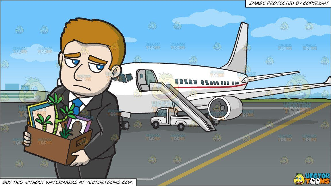 clipart #cartoon A Man Being Laid Off Work and An Airport.