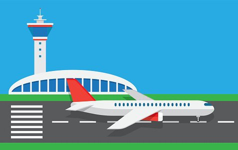flat vector airport Clipart Image.