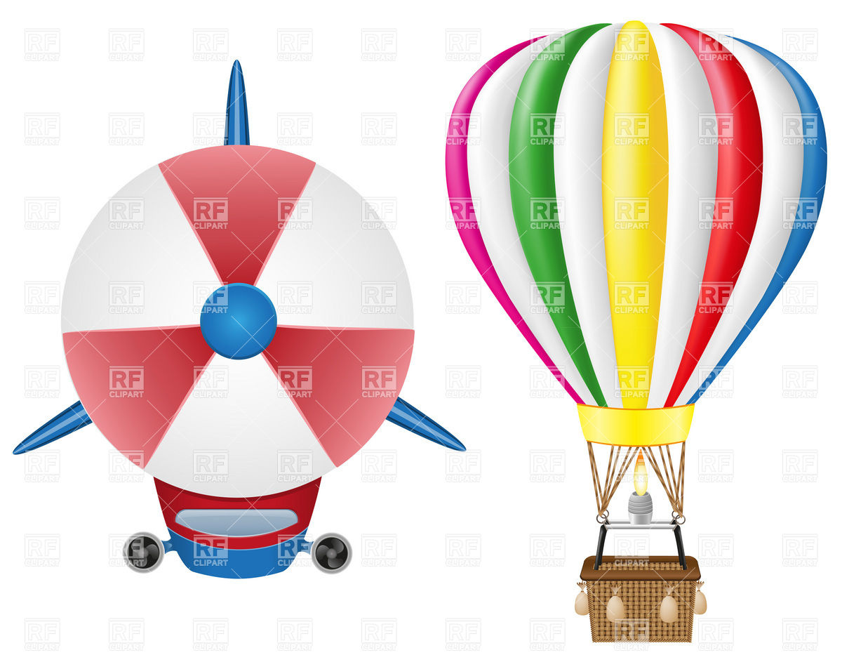 Airship zeppelin (dirigible) and hot air balloon.