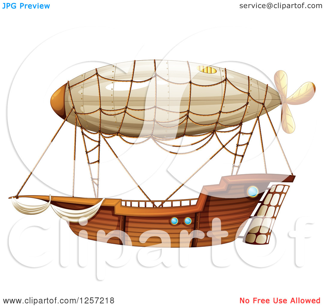 Cartoon of a Wooden Airship.