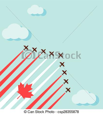 Vectors Illustration of Air show on the sky for the national day.