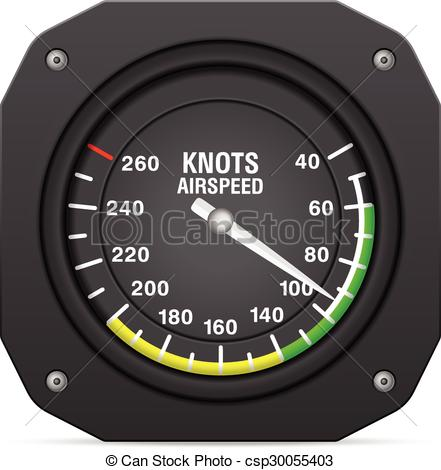 Vector Clipart of airspeed indicator.