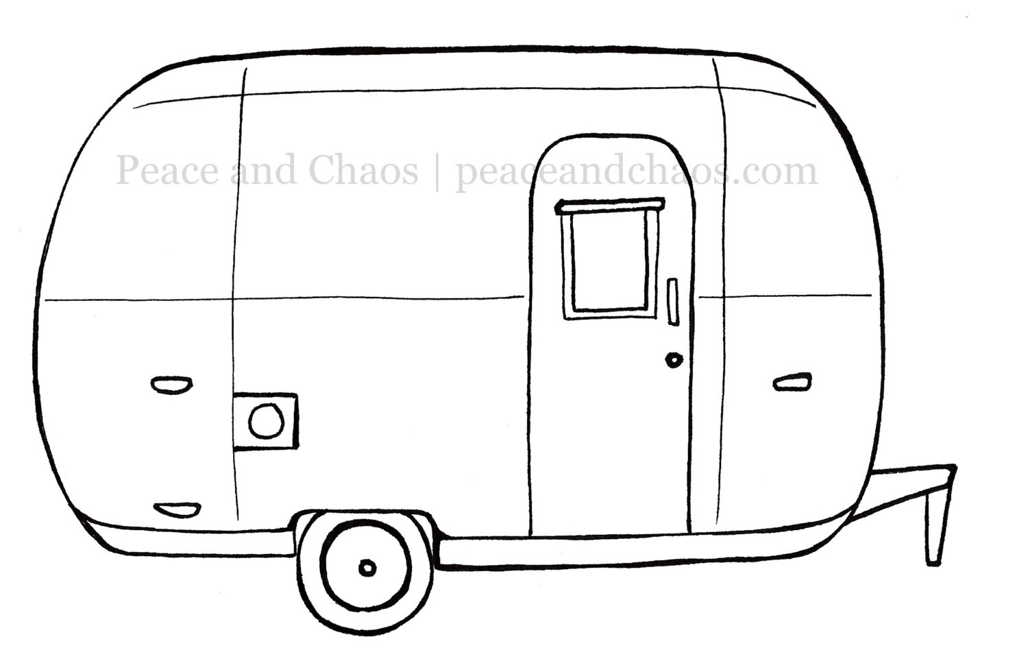 Instant Digital Download Color Page Vintage Airstream.