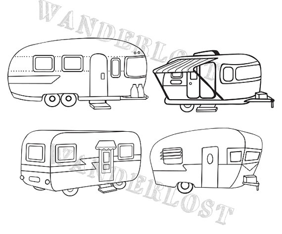 Vintage Campers Airstream Shasta Trailer Clip Art Vector.