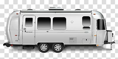 Gray travel trailer illustration, Airstream Side View.