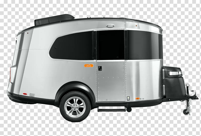 Grey and black 5th wheel camper trailer, Basecamp Airstream.