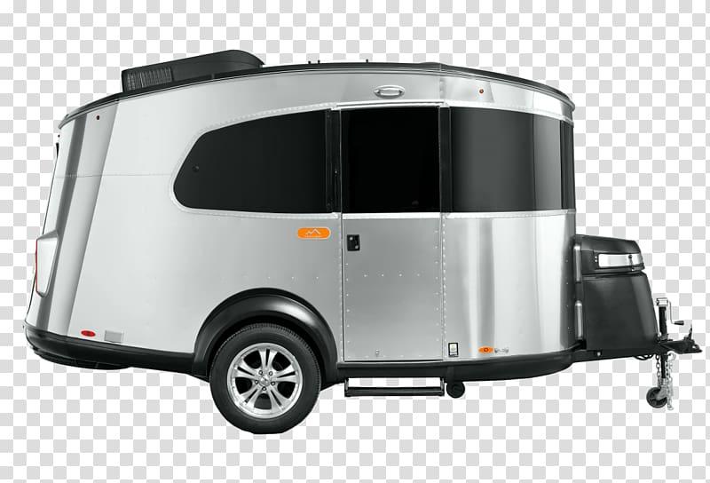 Grey and black 5th wheel camper trailer, Basecamp Airstream.