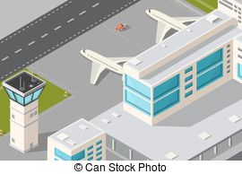 Vector Clip Art of Isometric city airport.