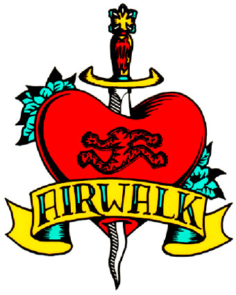 Airwalk Tattoo Skateboard Sticker.
