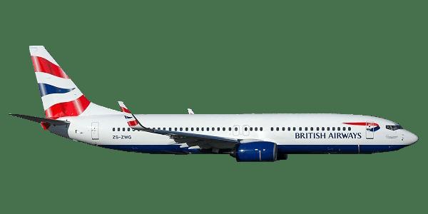 British Airways plane transparent image.