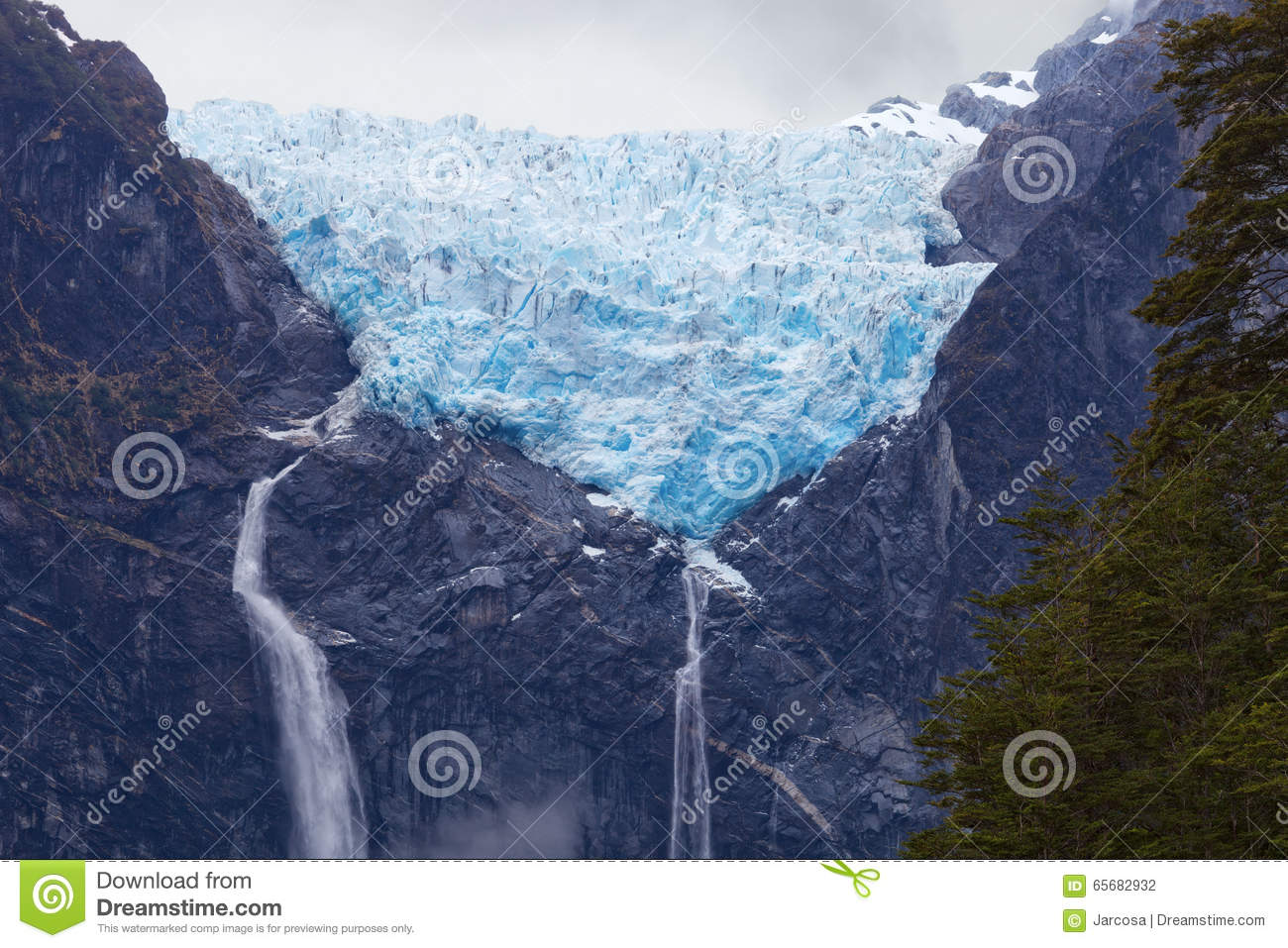 Hanging Glacier Of Queulat National Park, Chile Stock Photo.