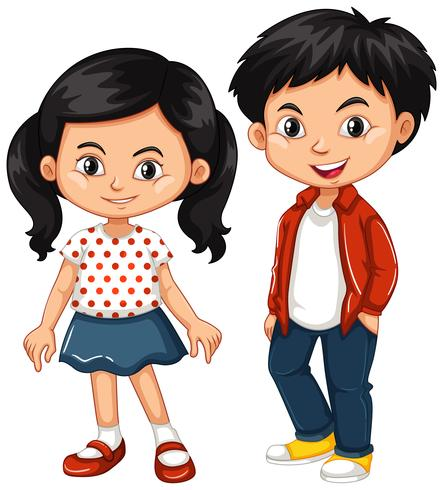 Asian boy and girl standing.