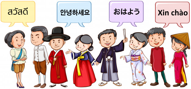 Asian people greeting in different languages Vector.