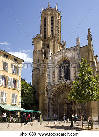Stock Photography of The Church St.Sauveur Cathedral at Aix.