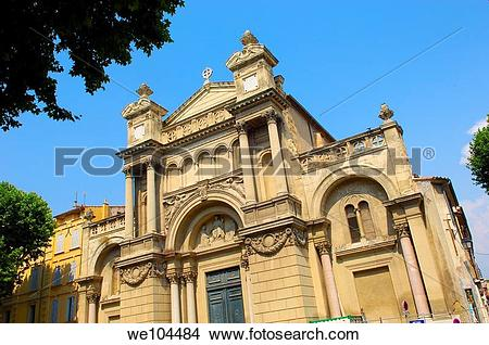 Stock Photo of Madeleine Church in old town, Aix.