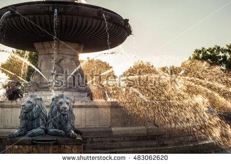 Nightshot La Rotonde Fountain Central Roundabout Stock Photo.