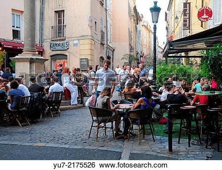 Stock Images of Restaurants at Place des Augustins in Aix.