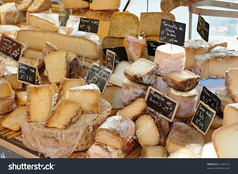Random French Cheese Rural Provence Market Stock Photo 81769147.