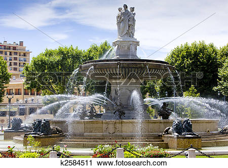 Stock Photography of fountain at La Rotonde, Aix.