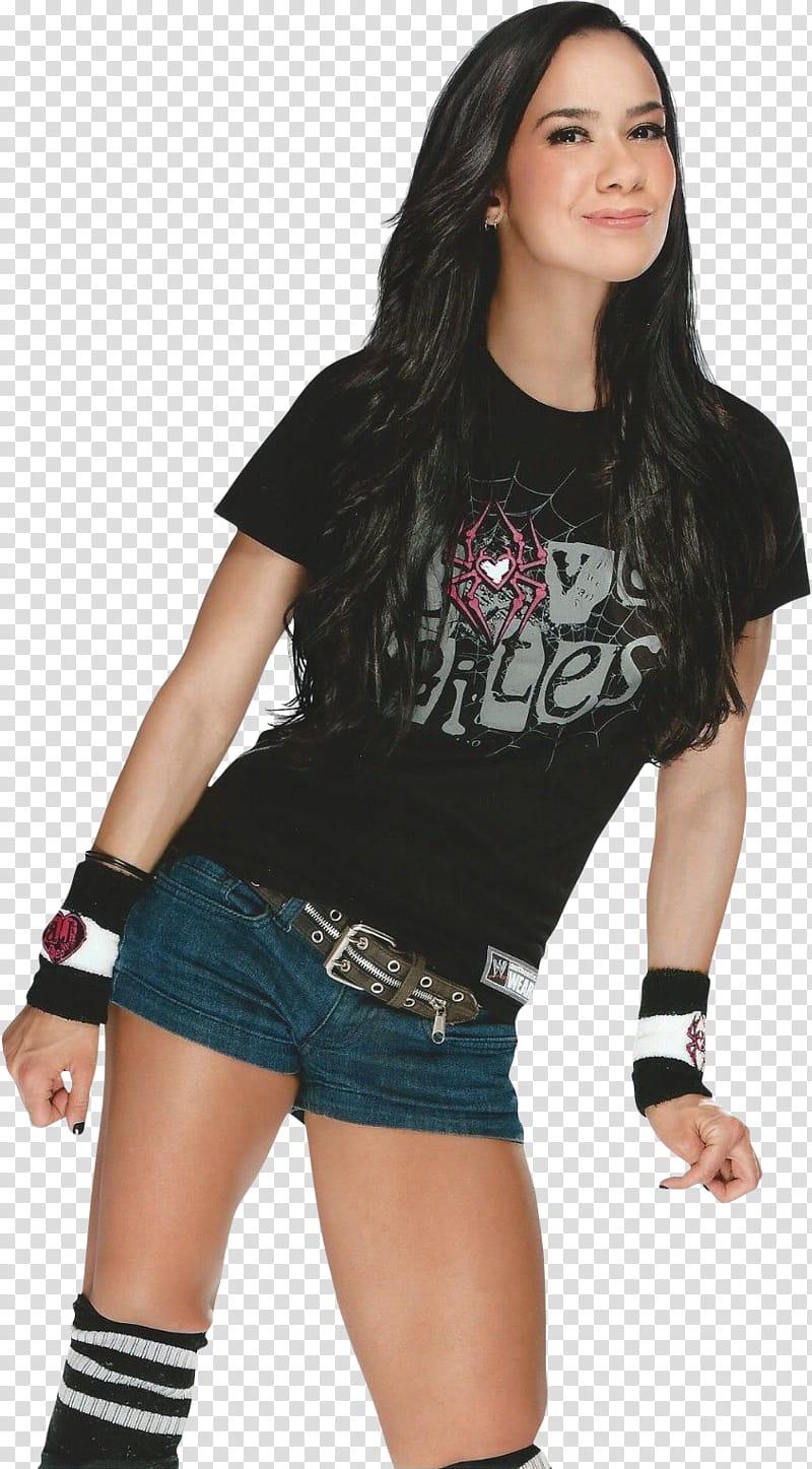 WWE Diva AJ Lee transparent background PNG clipart.