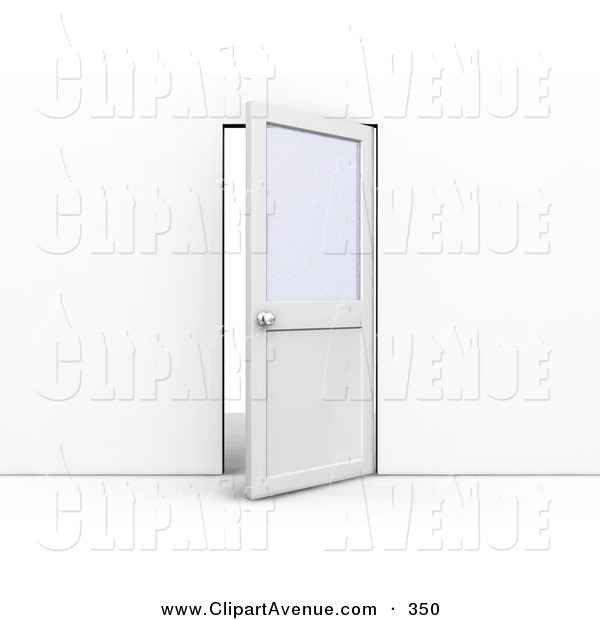 Avenue Clipart of an Ajar Office Door with a Privacy Window.