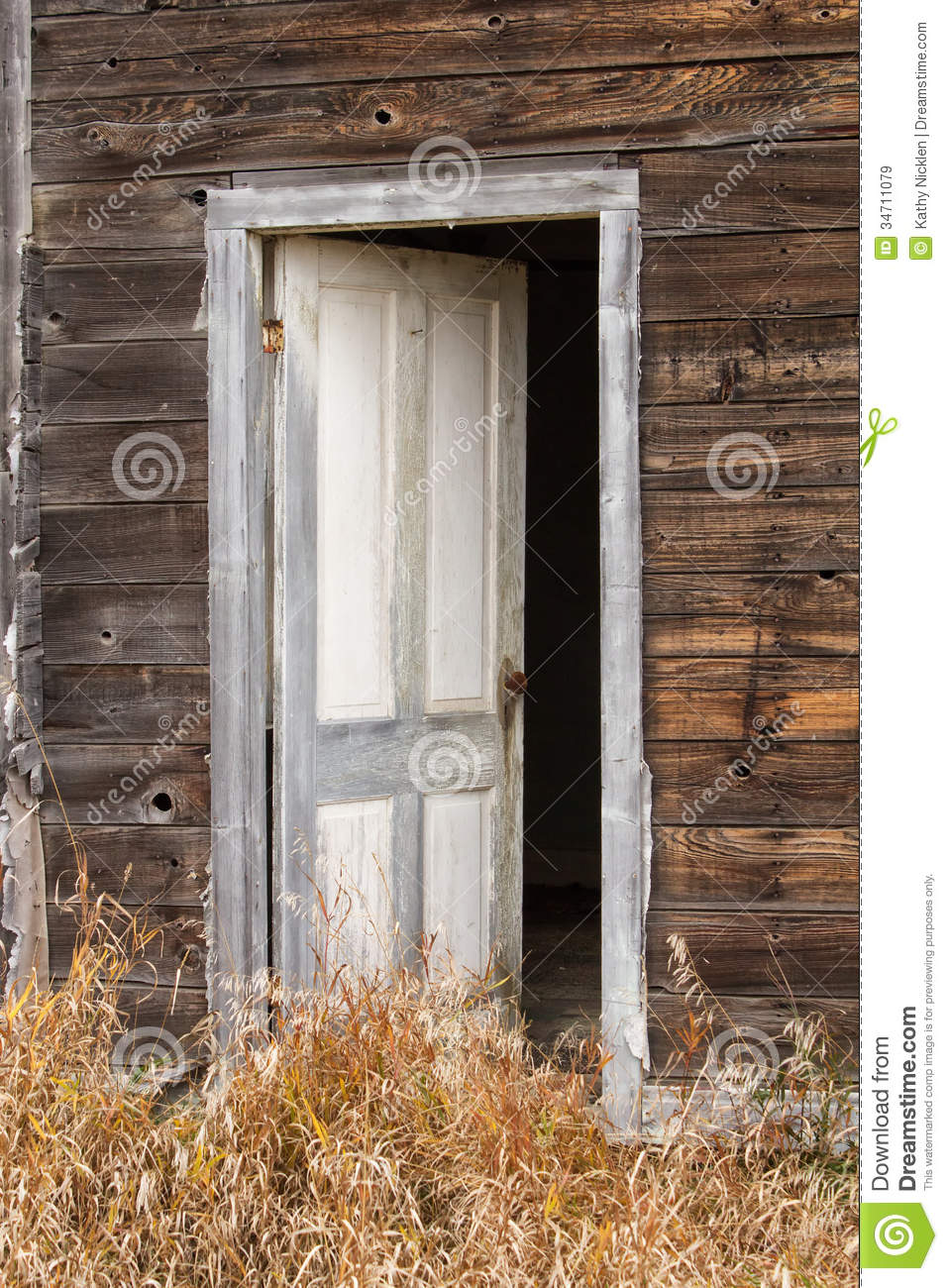 A White Wood Door Standing Ajar Royalty Free Stock Images.
