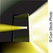 Ajar door light beam conceptual illustration with door.