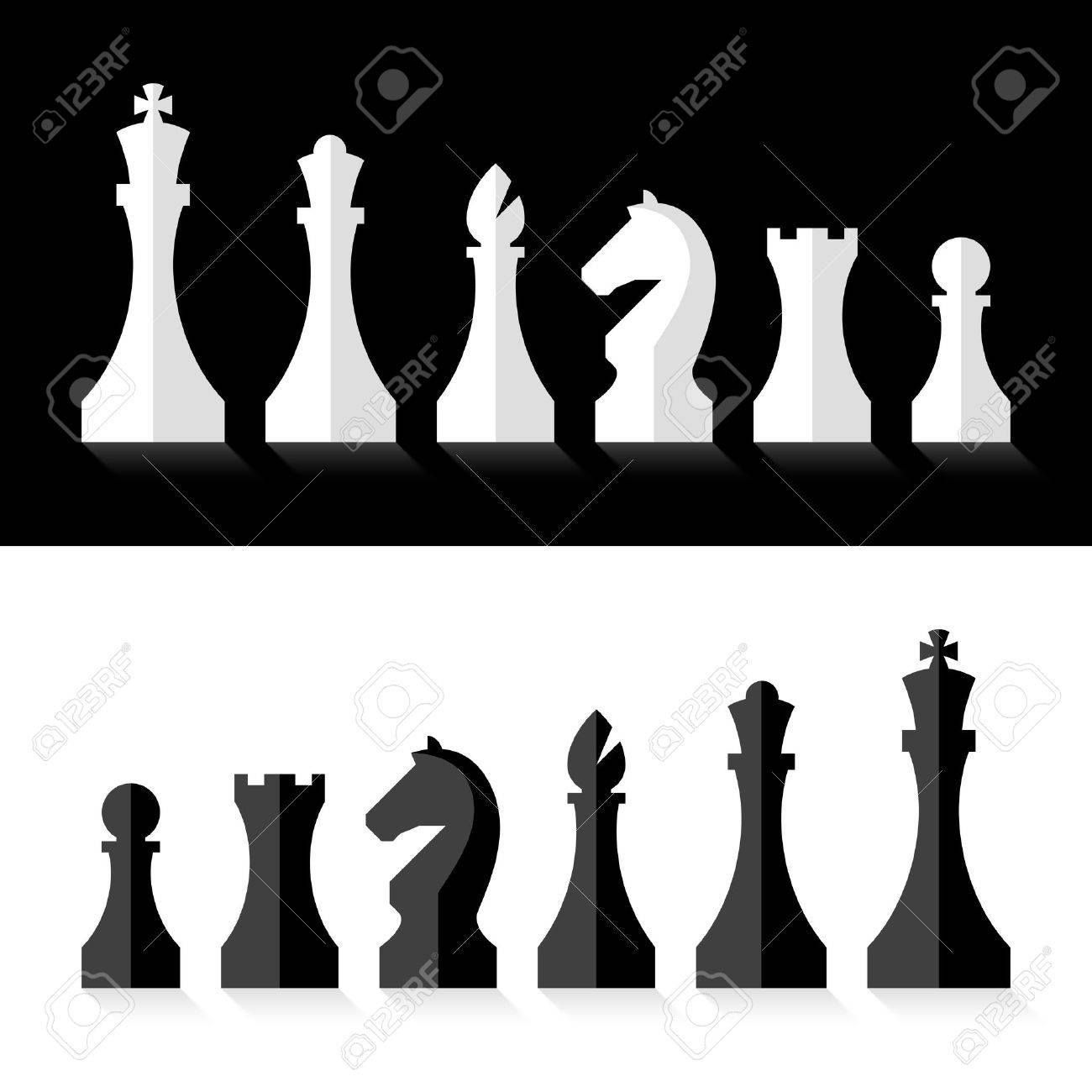 Black and white chess pieces flat design style.