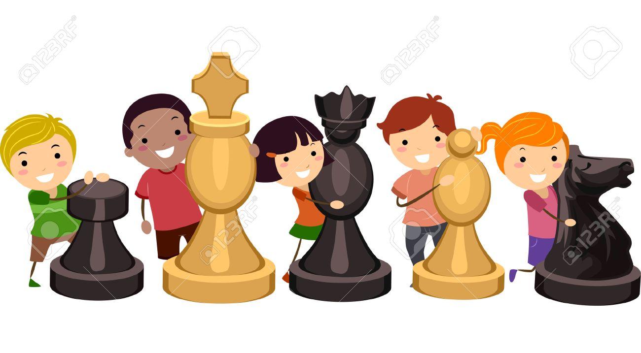 Illustration of Kids Hugging Giant Chess Pieces.