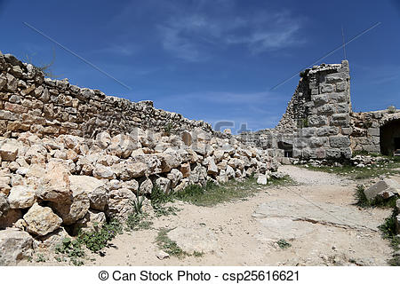 Stock Photo of The ayyubid castle of Ajloun in northern Jordan.