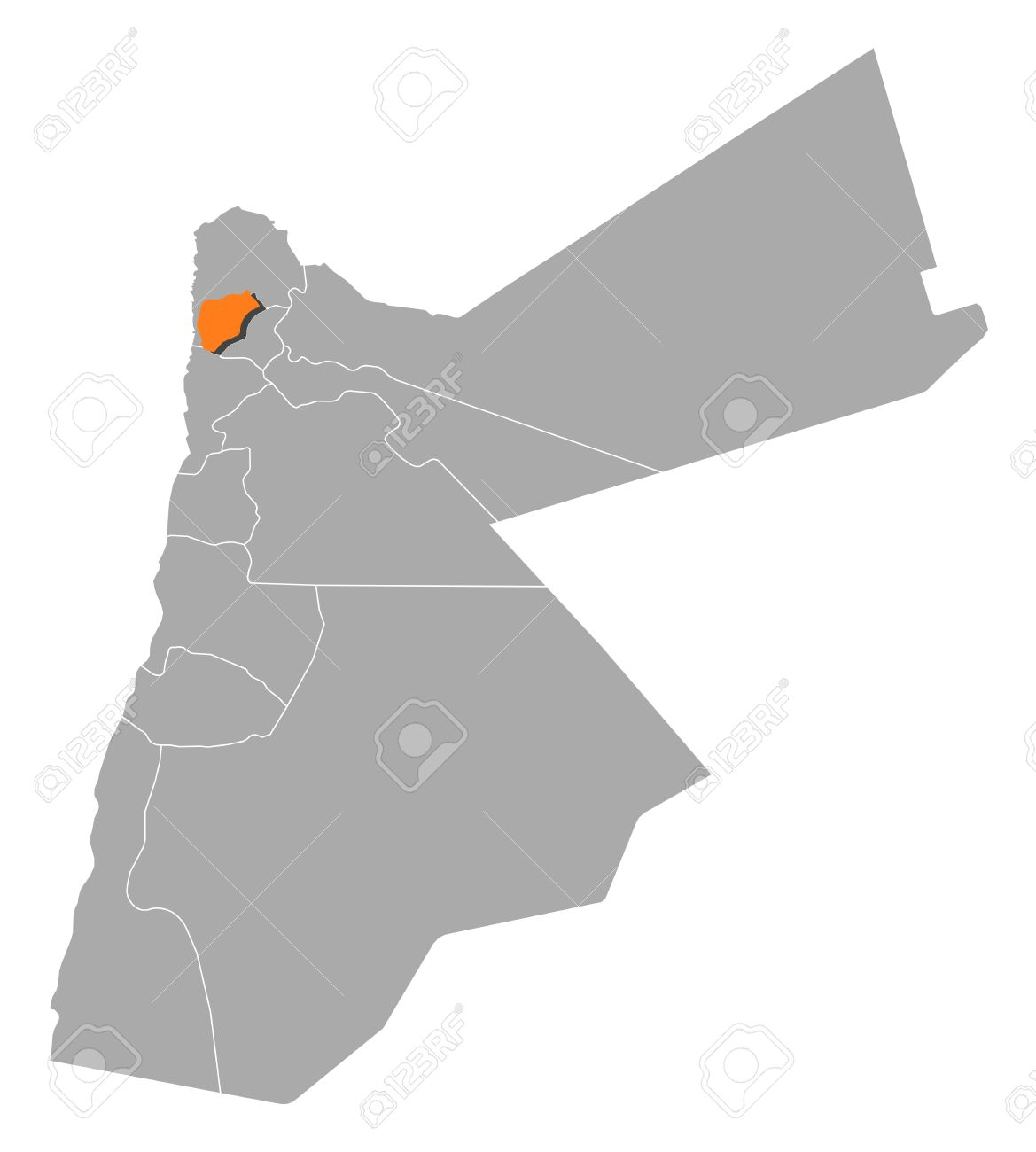 Political Map Of Jordan With The Several Governorates Where Ajloun.