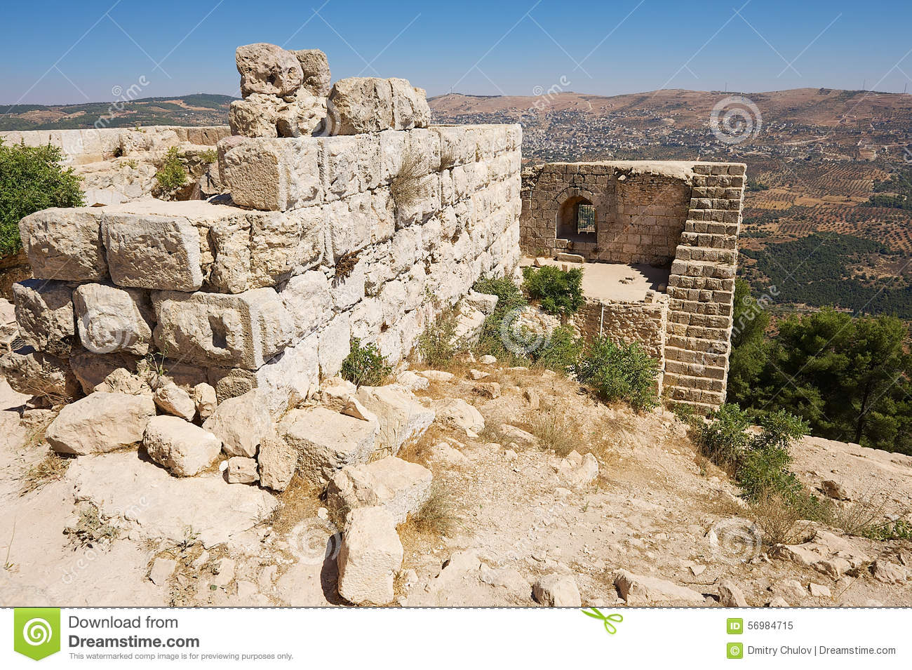Ajloun Castle In Ruins Stock Photo.